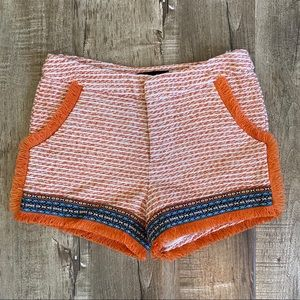 NWOT Endless Rose Orange Tweed Tribal Shorts S